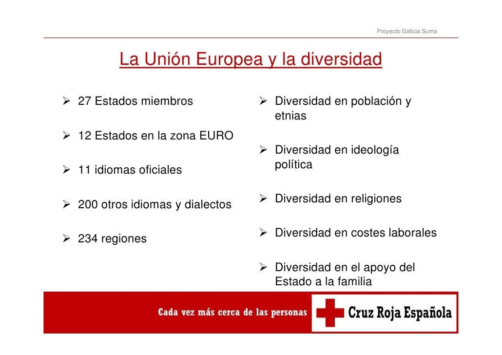 Proyecto Galicia Suma       La Unión Europea y la diversidad27 E d miembros   Estados i b                  Diversidad en p...