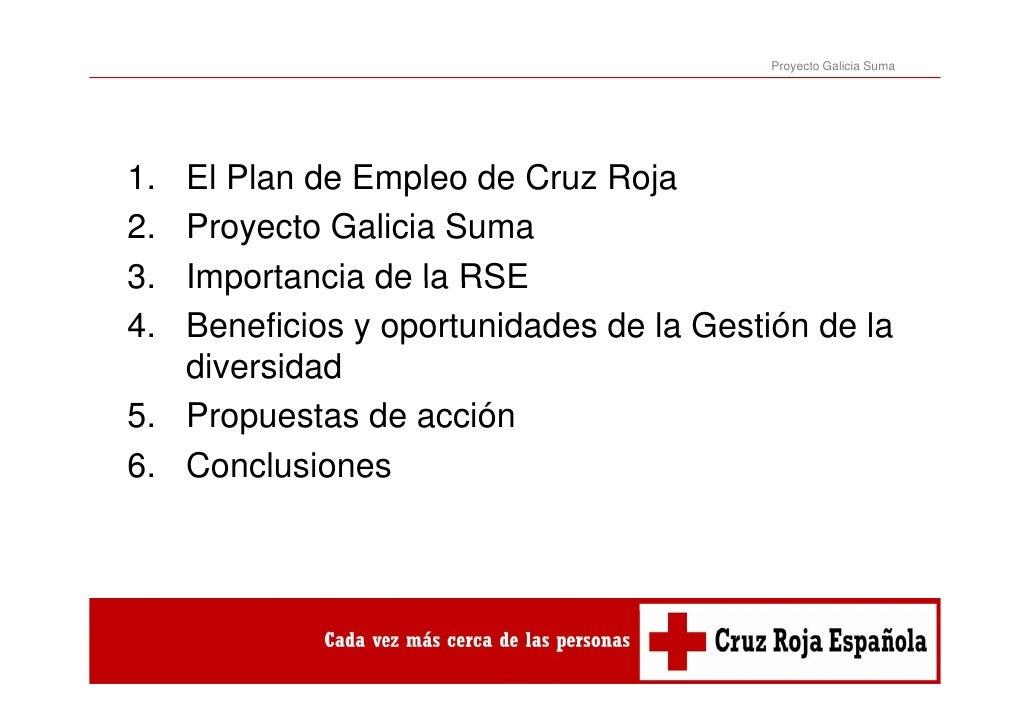 Proyecto Galicia Suma1. El Plan de Empleo de Cruz Roja2. Proyecto Galicia Suma3.3  Importancia de la RSE4. Beneficios y op...