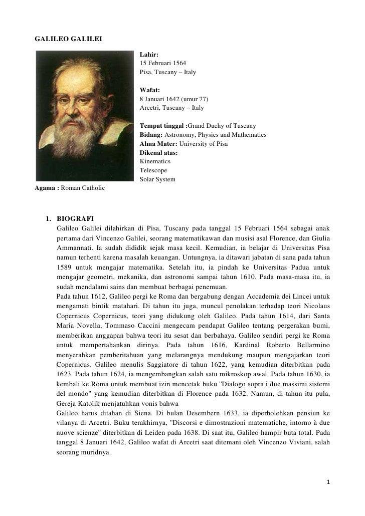 GALILEO GALILEI<br />228604445Lahir:<br />15 Februari 1564<br />Pisa, Tuscany – Italy<br />Wafat:<br />8 Januari 1642 (umu...