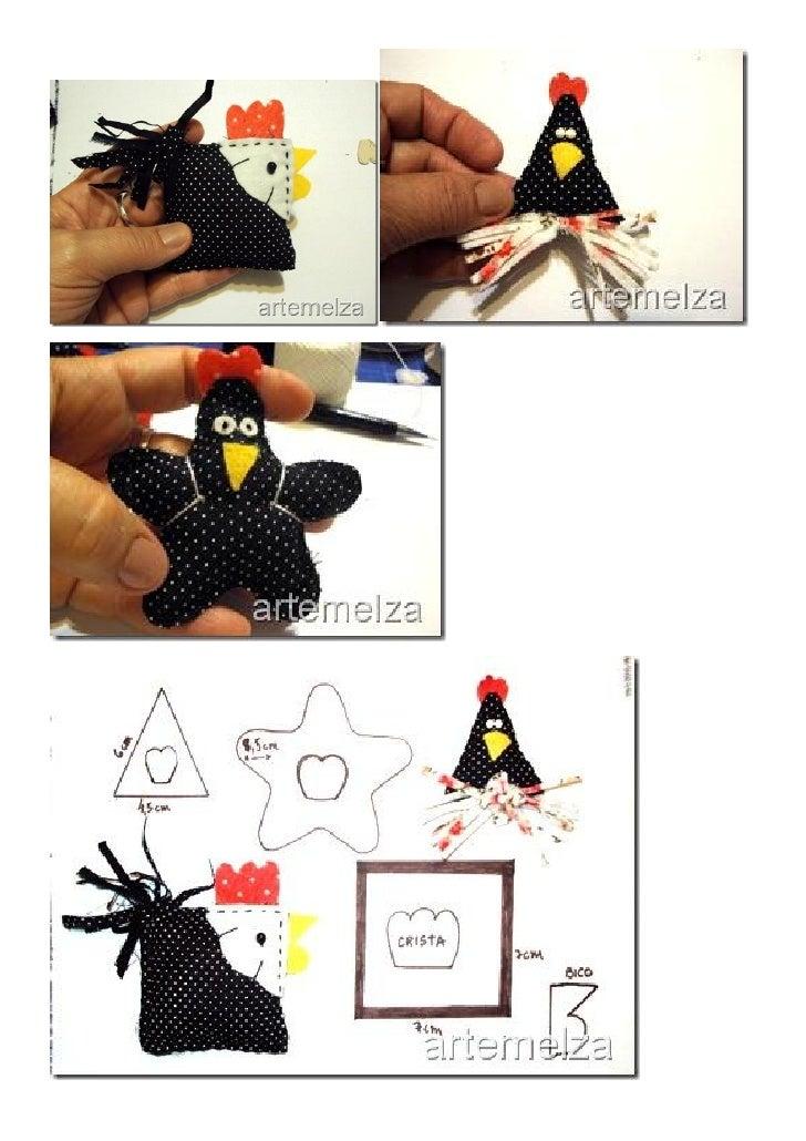 """Moldes ampliados, adaptados para móbile Obs: acrescentei nesta galinha triangular, asas em forma de """"folha"""", ficou bem mel..."""