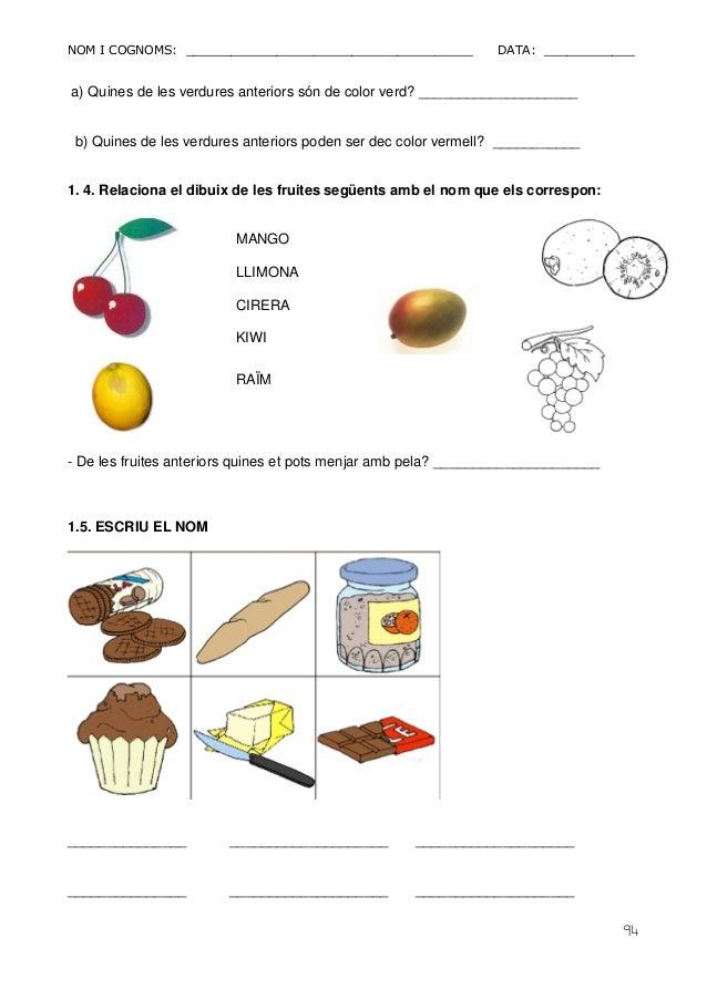 NOM I COGNOMS: ______________________________________ DATA: ____________  94  a) Quines de les verdures anteriors són de c...