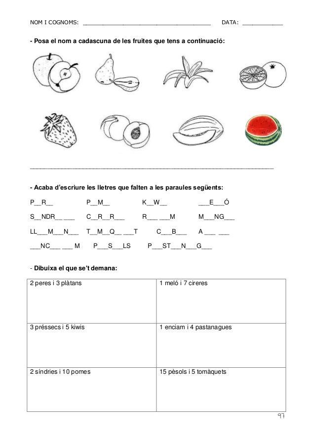 NOM I COGNOMS: ______________________________________ DATA: ____________  97  - Posa el nom a cadascuna de les fruites que...