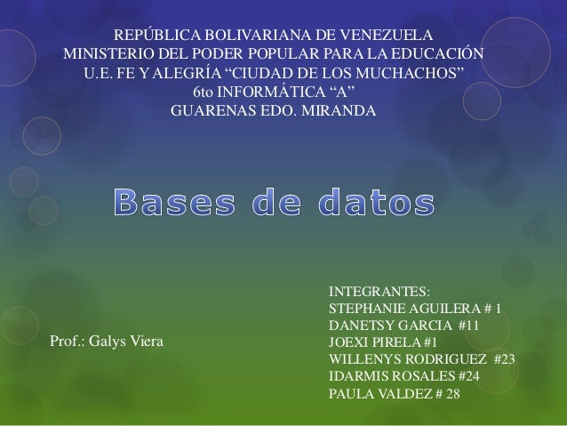 """REPÚBLICA BOLIVARIANA DE VENEZUELA MINISTERIO DEL PODER POPULAR PARA LA EDUCACIÓN U.E. FE Y ALEGRÍA """"CIUDAD DE LOS MUCHACH..."""