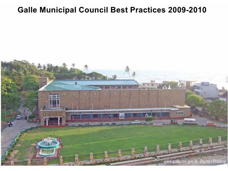 Galle Municipal Council Best Practices 2009-2010