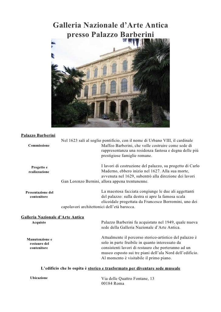 Galleria Nazionale d'Arte Antica                        presso Palazzo Barberini     Palazzo Barberini                    ...