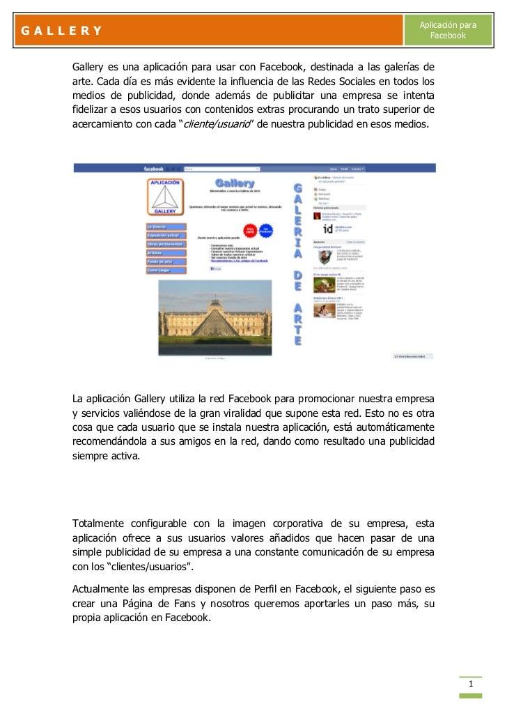 Aplicación paraGALLERY                                                                           Facebook    Gallery es un...