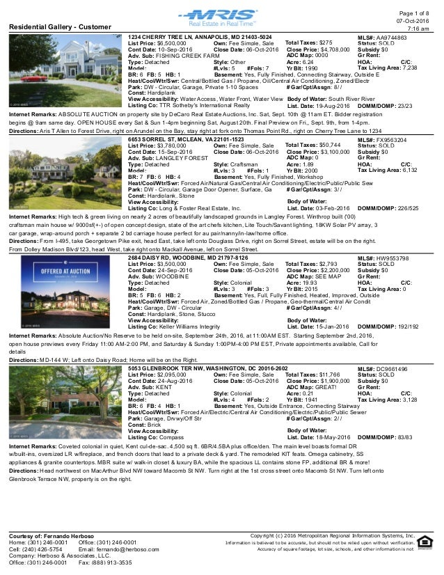 Residential Gallery - Customer 07-Oct-2016 7:16 am Page 1 of 8 1234 CHERRY TREE LN, ANNAPOLIS, MD 21403-5024 MLS#: AA97448...