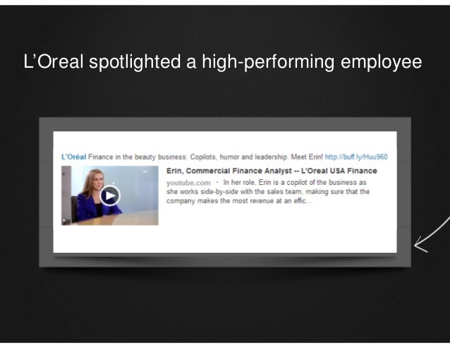 L'Oreal spotlighted a high-performing employee