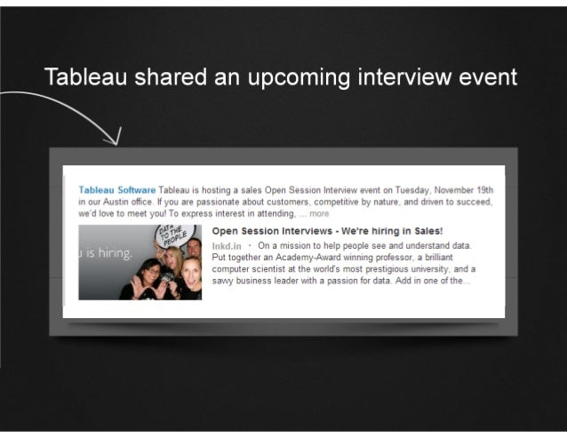 Tableau shared an upcoming interview event