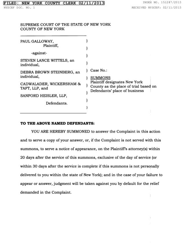 FILED: NEW YORK COUNTY CLERK 02/11/2013        INDEX NO. 151287/2013NYSCEF DOC. NO. 1                         RECEIVED NYS...