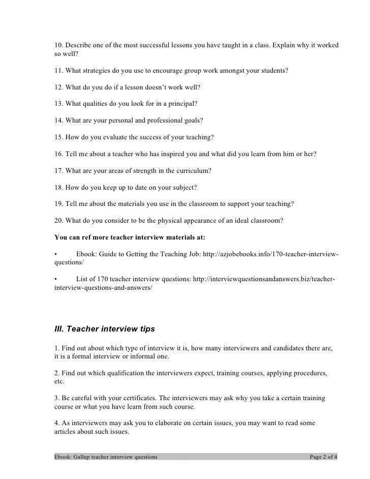 Gallup teacher interview questions