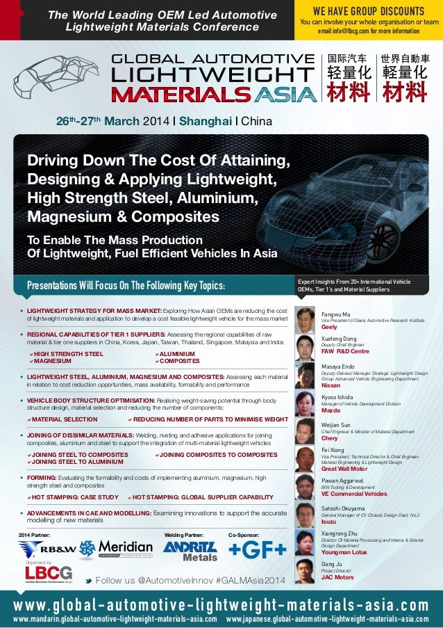 The World Leading OEM Led Automotive Lightweight Materials Conference Driving Down The Cost Of Attaining, Designing & Appl...