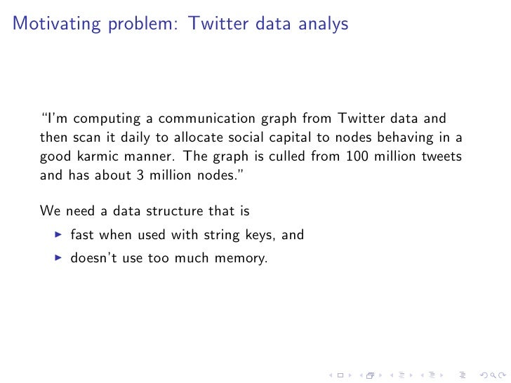 """Motivating problem: Twitter data analys   """"I'm computing a communication graph from Twitter data and   then scan it daily ..."""