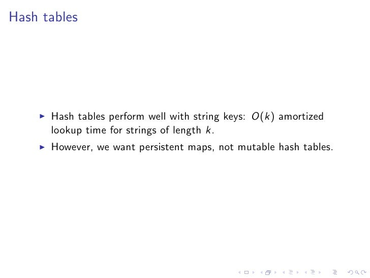 Hash tables      Hash tables perform well with string keys: O(k) amortized      lookup time for strings of length k.      ...