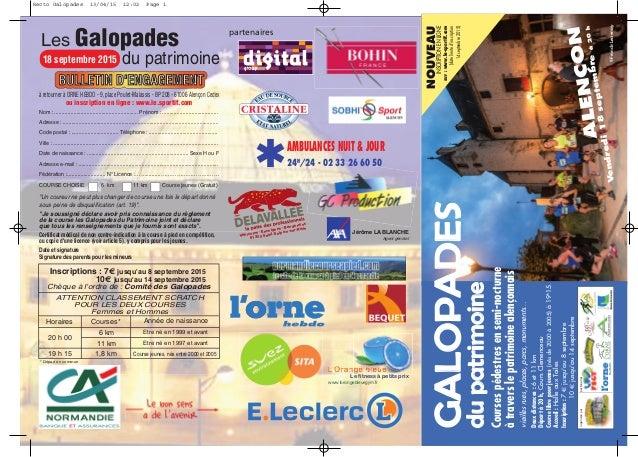 organisées par partenaires AMBULANCES NUIT & JOUR 24H /24 - 02 33 26 60 50 Les Galopades du patrimoine18 septembre 2015 BU...