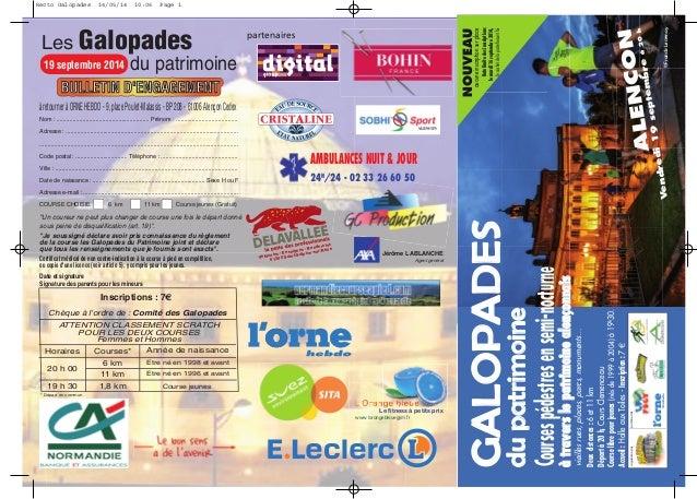 organisées par partenaires AMBULANCES NUIT & JOUR 24H /24 - 02 33 26 60 50 Les Galopades du patrimoine19 septembre 2014 BU...