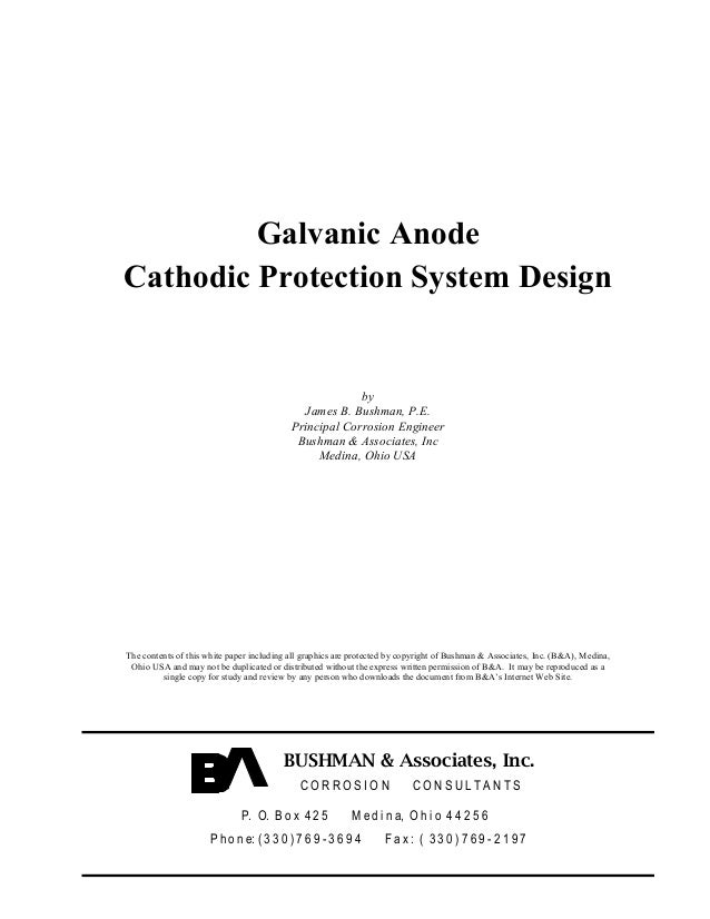 Galvanic AnodeCathodic Protection System Design                                                        by                 ...