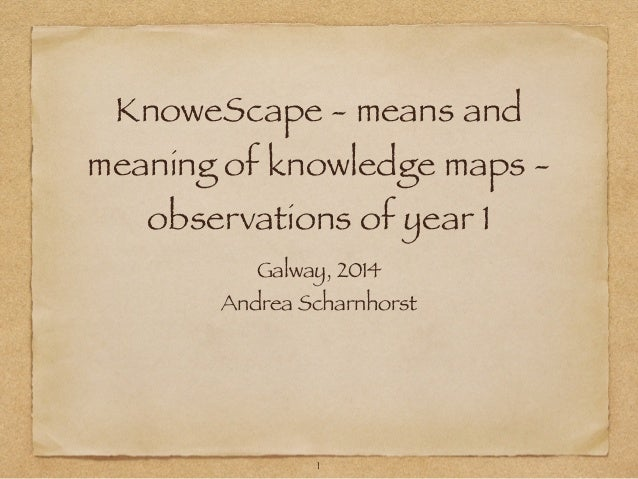 KnoweScape - means and meaning of knowledge maps - observations of year 1 Galway, 2014 Andrea Scharnhorst 1