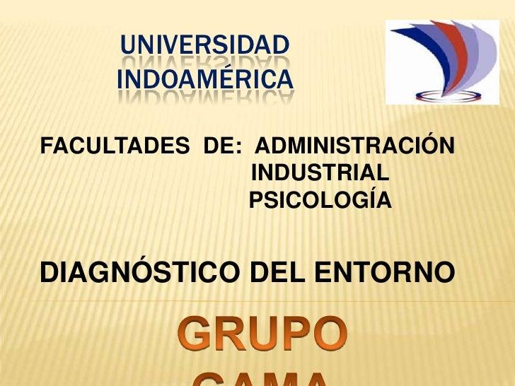 UNIVERSIDAD INDOAMÉRICA<br />FACULTADES  DE:  ADMINISTRACIÓN<br />                       INDUSTRIAL<br />                 ...