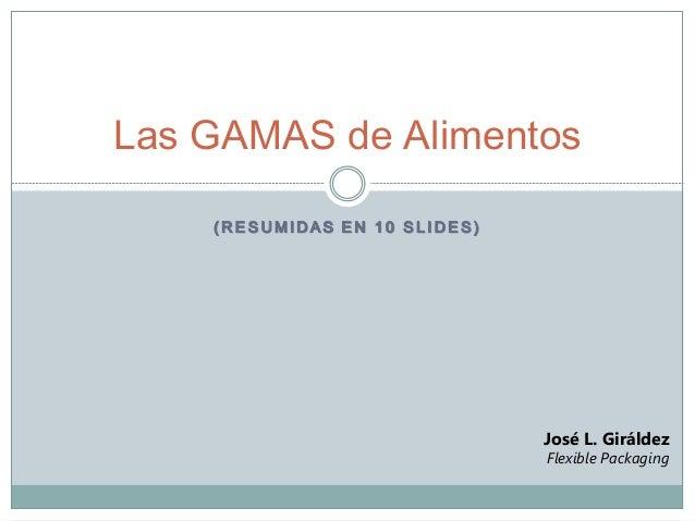 ( R E S U M I D A S E N 1 0 S L I D E S ) Las GAMAS de Alimentos José L. Giráldez Flexible Packaging