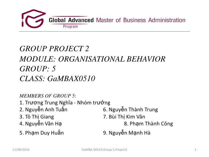 GROUP PROJECT 2MODULE: ORGANISATIONAL BEHAVIORGROUP: 5CLASS: GaMBAX0510MEMBERS OF GROUP 5:1. Trương Trung Nghĩa - Nhómtrưở...