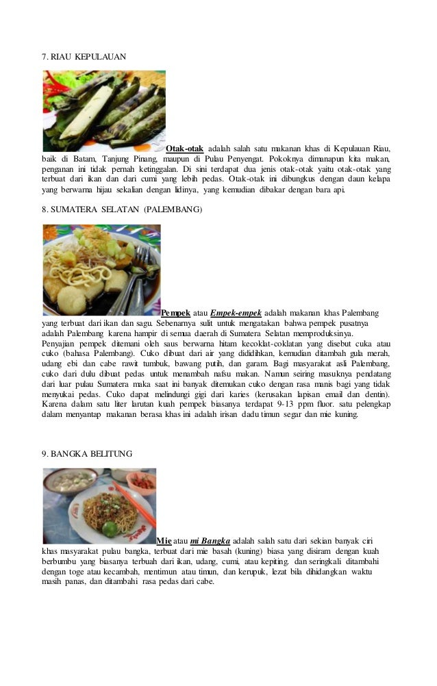 Gambar Dan Nama Makanan Daerah Di 33 Provinsi