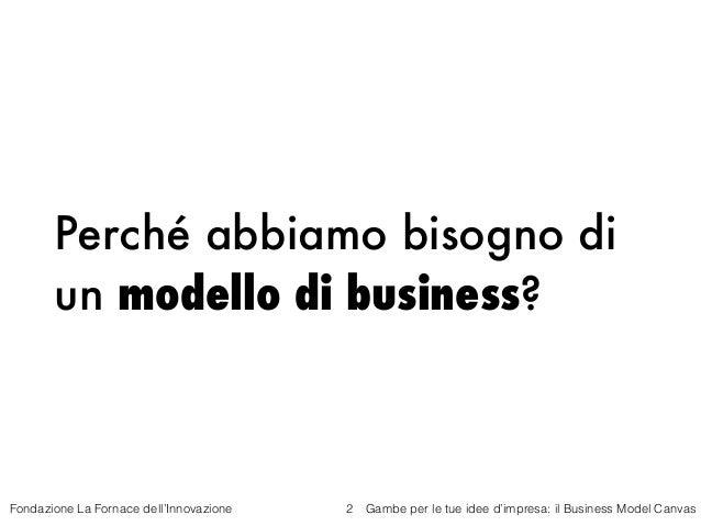 Gambe per le tue idea di impresa -Il business model canvas - Fornace dell'Innovazione - 29 ottobre 2015 Slide 2