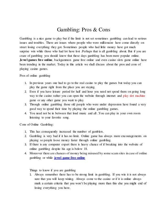 Gambling - cons and pros advantic casino slots