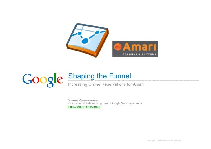 Shaping the Funnel Increasing Online Reservations for Amari   Vinoaj Vijeyakumaar Customer Solutions Engineer, Google Sout...