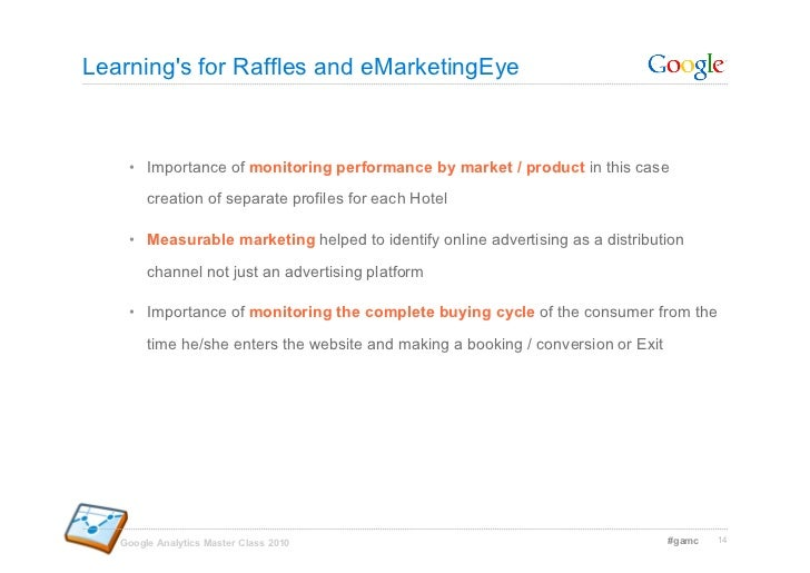 Learning's for Raffles and eMarketingEye        • Importance of monitoring performance by market / product in this case  ...