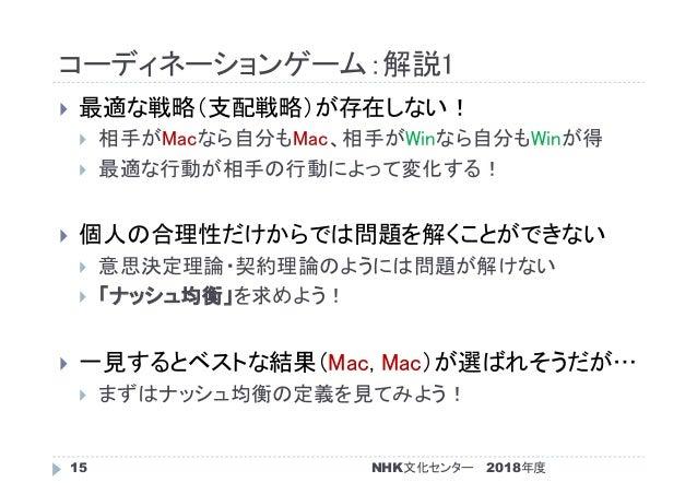 コーディネーションゲーム:解説1 2018年度NHK文化センター15  最適な戦略(支配戦略)が存在しない!  相手がMacなら自分もMac、相手がWinなら自分もWinが得  最適な行動が相手の行動によって変化する!  個人の合理性だ...
