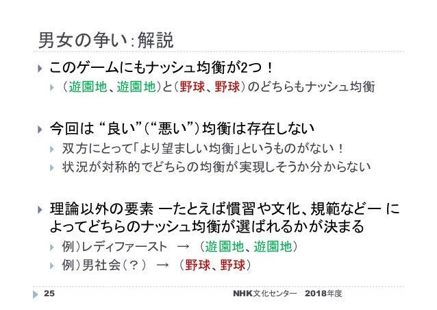 """男女の争い:解説 2018年度NHK文化センター25  このゲームにもナッシュ均衡が2つ!  (遊園地、遊園地)と(野球、野球)のどちらもナッシュ均衡  今回は """"良い""""(""""悪い"""")均衡は存在しない  双方にとって「より望ましい均衡」と..."""