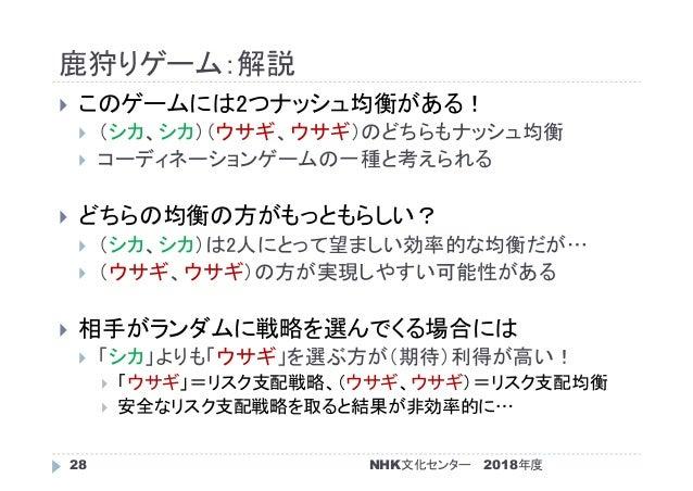 鹿狩りゲーム:解説 2018年度NHK文化センター28  このゲームには2つナッシュ均衡がある!  (シカ、シカ)(ウサギ、ウサギ)のどちらもナッシュ均衡  コーディネーションゲームの一種と考えられる  どちらの均衡の方がもっともらしい...
