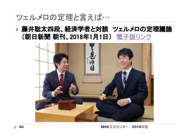 ツェルメロの定理と言えば… 2018年度NHK文化センター46  藤井聡太四段、経済学者と対談 ツェルメロの定理議論 (朝日新聞 朝刊、2018年1月1日) 電子版リンク