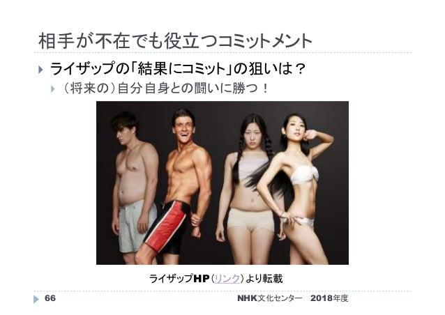 相手が不在でも役立つコミットメント 2018年度NHK文化センター66  ライザップの「結果にコミット」の狙いは?  (将来の)自分自身との闘いに勝つ! ライザップHP(リンク)より転載