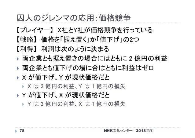 囚人のジレンマの応用:価格競争 2018年度NHK文化センター78 【プレイヤー】 X社とY社が価格競争を行っている 【戦略】 価格を「据え置く」か「値下げ」の2つ 【利得】 利潤は次のように決まる  両企業とも据え置きの場合にはともに 2 ...