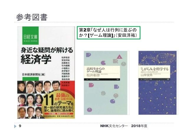 参考図書 2018年度NHK文化センター9 第2章「なぜ人は行列に並ぶの か?[ゲーム理論]」(安田洋祐)