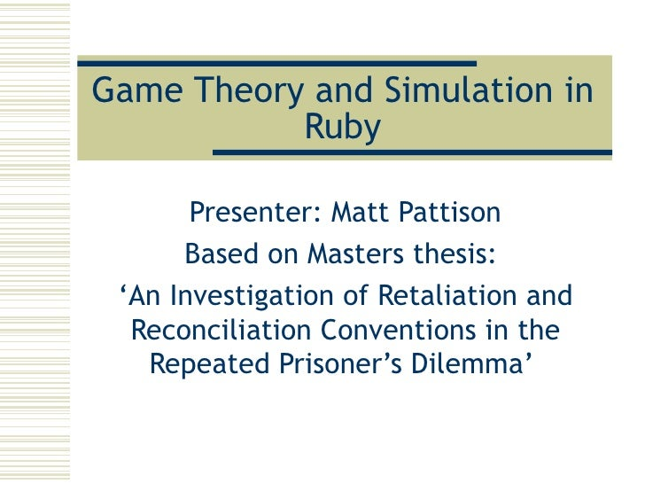 master thesis game theory applications