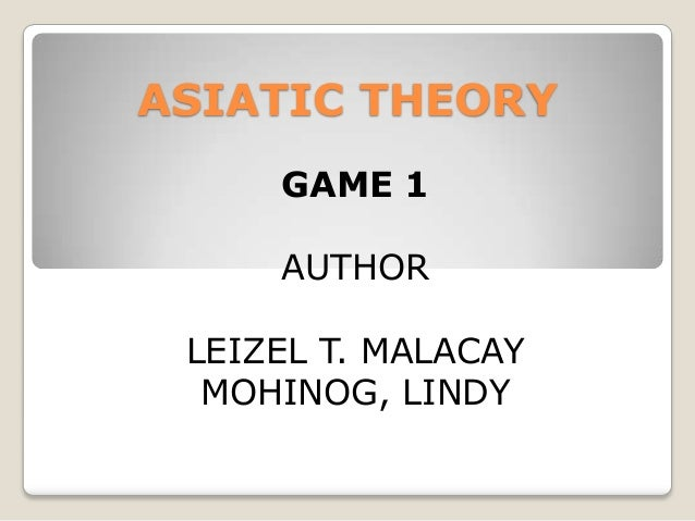 ASIATIC THEORY GAME 1 AUTHOR LEIZEL T. MALACAY MOHINOG, LINDY