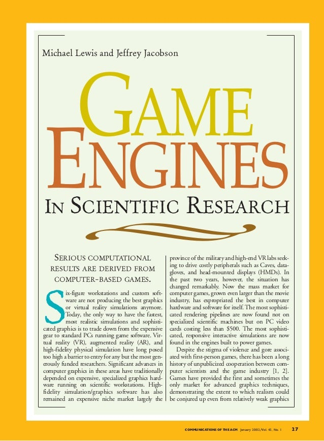 Michael Lewis and Jeffrey Jacobson GAMEENGINESIN SCIENTIFIC RESEARCH    SERIOUS COMPUTATIONAL                             ...