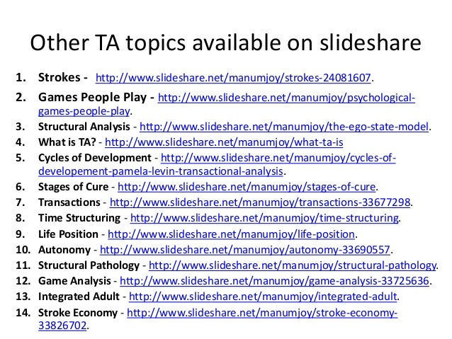 Other TA topics available on slideshare 1. Strokes - http://www.slideshare.net/manumjoy/strokes-24081607. 2. Games People ...