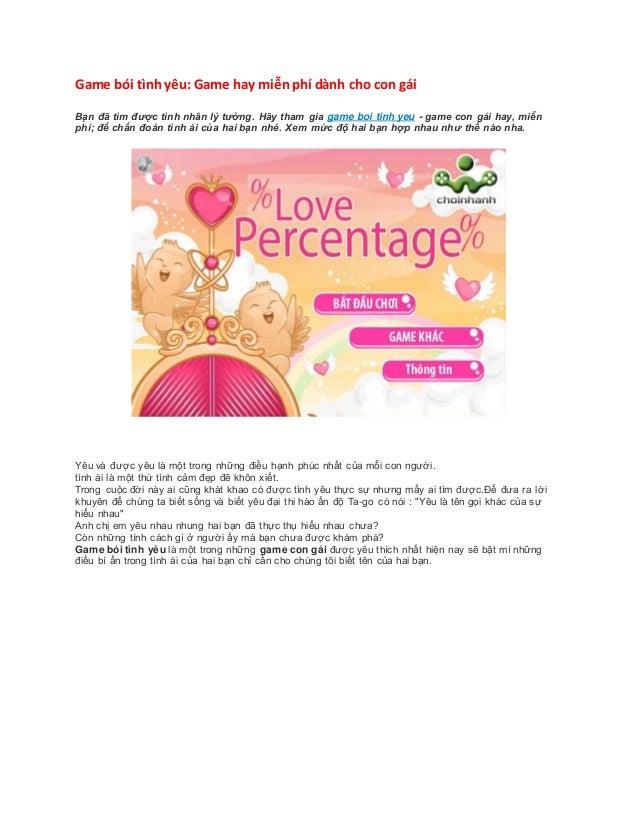 Game bói tìnhyêu: Game hay miễnphí dành cho con gái Bạn đã tìm được tình nhân lý tưởng. Hãy tham gia game boi tinh yeu - g...