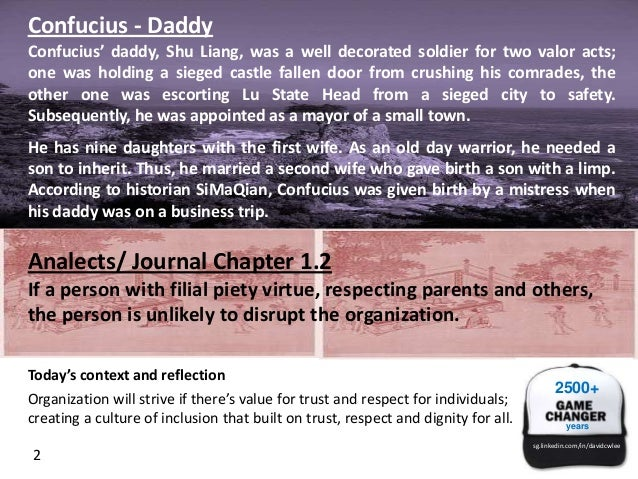 Confucius - Daddy Confucius' daddy, Shu Liang, was a well decorated soldier for two valor acts; one was holding a sieged c...