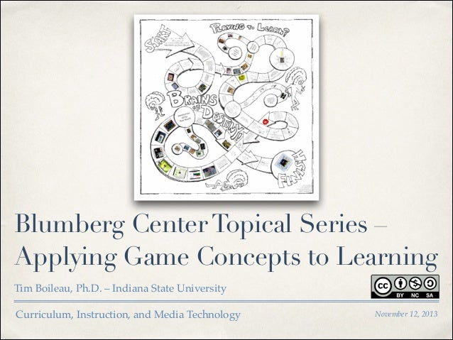 Blumberg Center Topical Series – Applying Game Concepts to Learning Tim Boileau, Ph.D. – Indiana State University Curricul...
