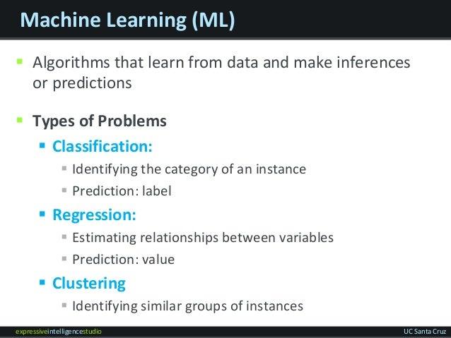 expressiveintelligencestudio UC Santa Cruz Machine Learning (ML)  Algorithms that learn from data and make inferences or ...