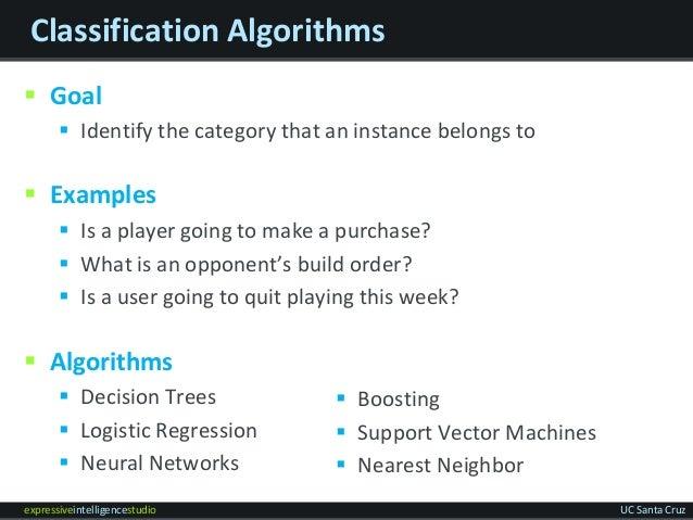 expressiveintelligencestudio UC Santa Cruz Classification Algorithms  Goal  Identify the category that an instance belon...