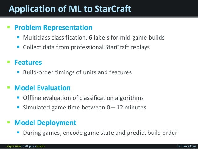 expressiveintelligencestudio UC Santa Cruz Application of ML to StarCraft  Problem Representation  Multiclass classifica...