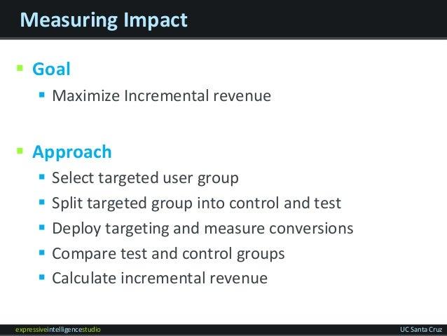 expressiveintelligencestudio UC Santa Cruz Measuring Impact  Goal  Maximize Incremental revenue  Approach  Select targ...