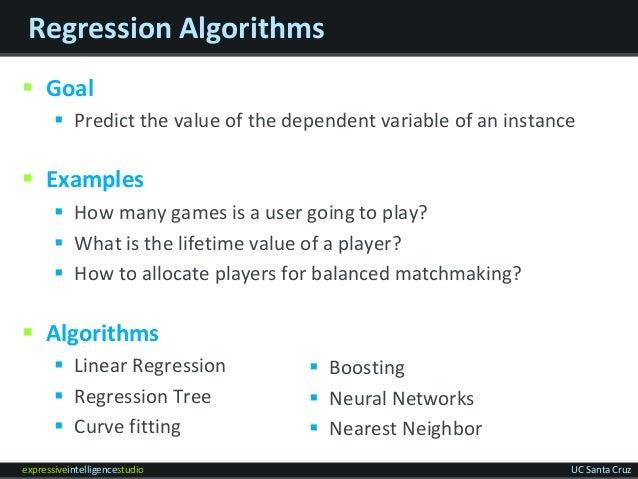 expressiveintelligencestudio UC Santa Cruz Regression Algorithms  Goal  Predict the value of the dependent variable of a...