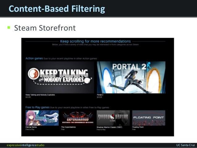 expressiveintelligencestudio UC Santa Cruz Content-Based Filtering  Steam Storefront